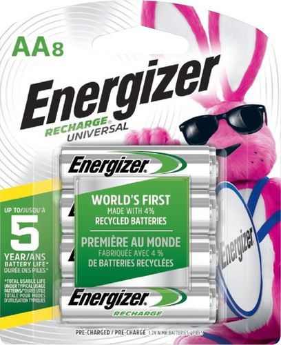 Energizer - Recharge Rechargeable AA Batteries (8-Pack)