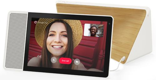 """Lenovo - 10"""" Smart Display with Google Assistant - White Front/Bamboo Back"""