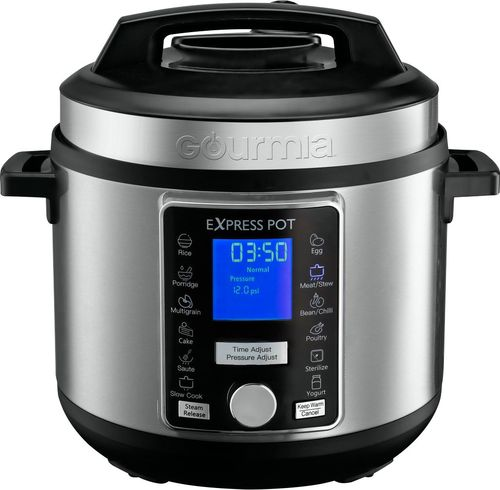 Gourmia - 6-Quart Pressure Cooker with Auto Release - Stainless Steel