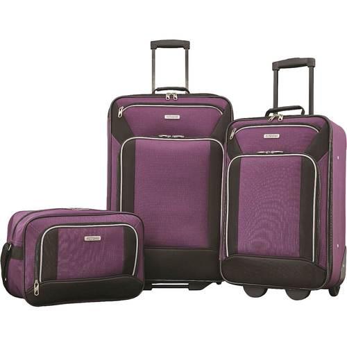 American Tourister - Fieldbrook XLT 25u0022/21u0022 Expandable Wheeled Luggage Set (3-Piece) - Purple/Black
