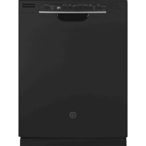 GE Black GDF630PGMBB 24u0022u0022 Front Control Dishwasher with 16 Place Settings  3rd Rack  Dry Boost  4 Bottle Wash Jets  Steam Prewash  in Black