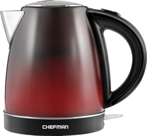 CHEFMAN - 1.7L Color Changing Electric Kettle - Red/Black/Stainless Steel