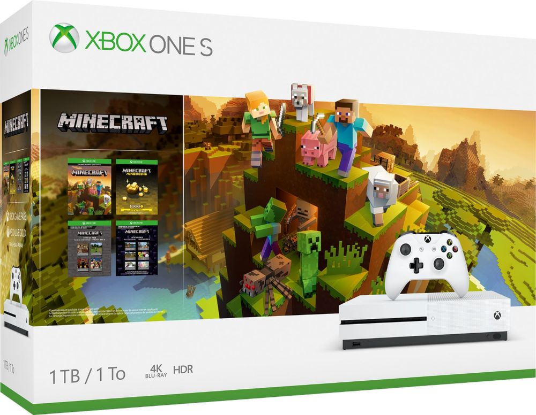 Microsoft - Xbox One S 1TB Minecraft Creators Bundle with 4K Ultra HD Blu-ray - White