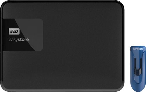 WD - Easystore 4TB External USB 3.0 Portable Hard Drive with 32GB Easystore USB Flash Drive - Black