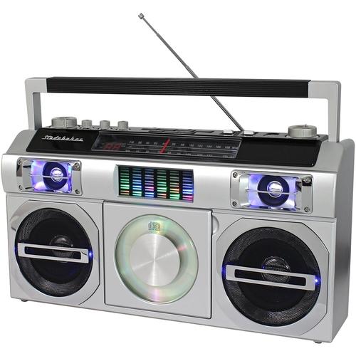 Studebaker - Master Blaster CD-RW/CD-R/CD-DA Boombox with AM/FM Radio - Silver