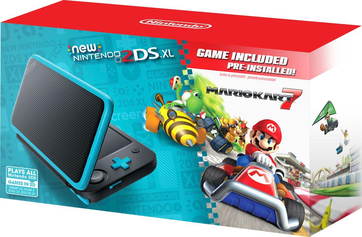 Nintendo - New 2DS XL Mario Kart 7 Bundle - Black + Turquoise