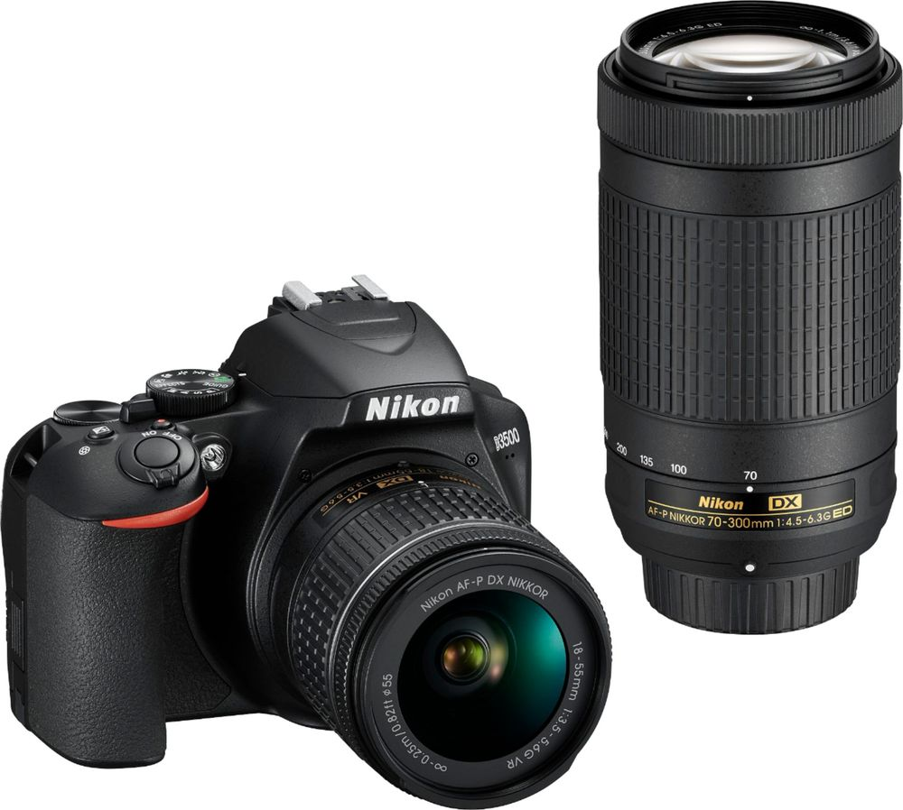 Nikon D3500 Dx-format Dslr Two Lens Kit With Af-p Dx Nikkor 18-55mm F3.5-5.6g Vr & Af-p Dx Nikkor 70-300mm F4.5-6.3g Ed, Black