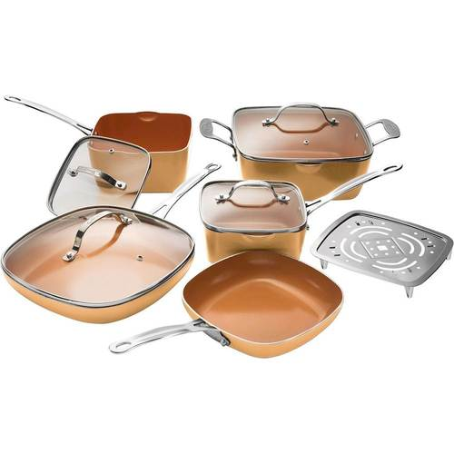 Gotham Steel 10-Piece SQUARE Kitchen Set with Non-Stick Ti-Cerama Coating by Chef Daniel Green – As Seen on TV! Copper