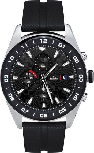 LG - Watch W7 Smartwatch 44.5mm Stainless Steel - Cloud Silver Rubber