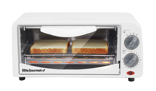 Elite - Cuisine 19 Cu. Ft. Toaster Oven - White Grill, bake, toast and broil functions; integrated timer
