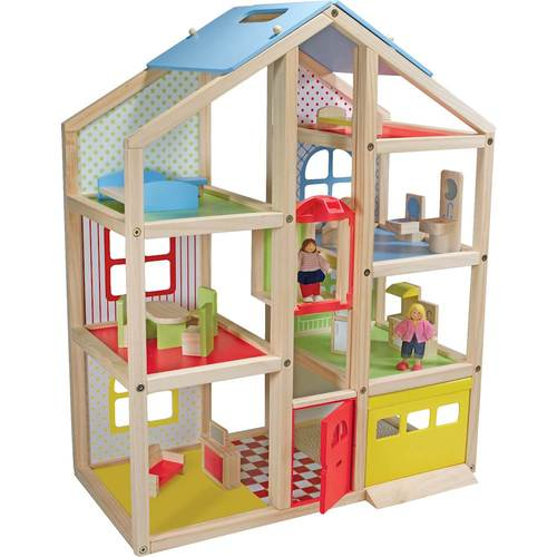 Melissa & Doug - Hi-Rise Wooden Dollhouse and Furniture Set