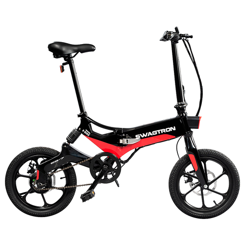 SWAGTRON EB7 Long-Range Folding Electric Bike, 16-Inch Wheels, Swappable Battery with Keylock & Rear Suspension
