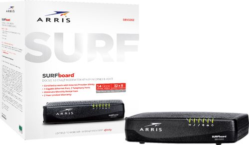 ARRIS - SURFboard 32 x 8 DOCSIS 3.0 Voice Cable Modem - Black DOCSIS 3.0 Cable ModemSpeeds up to 1000 Mbps1 Ethernet Port