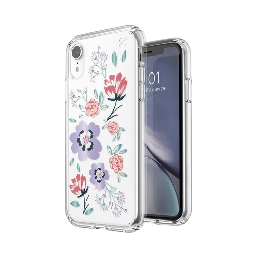 Speck Presidio Clear + Print iPhone XR Case, CanopyFloral Lavender/Clear