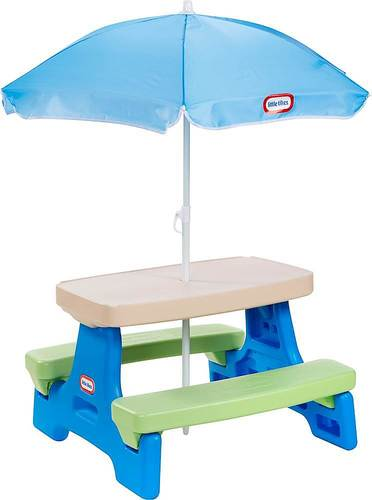 Little Tikes Easy Store Jr. Picnic Table With Umbrella - Blue Green