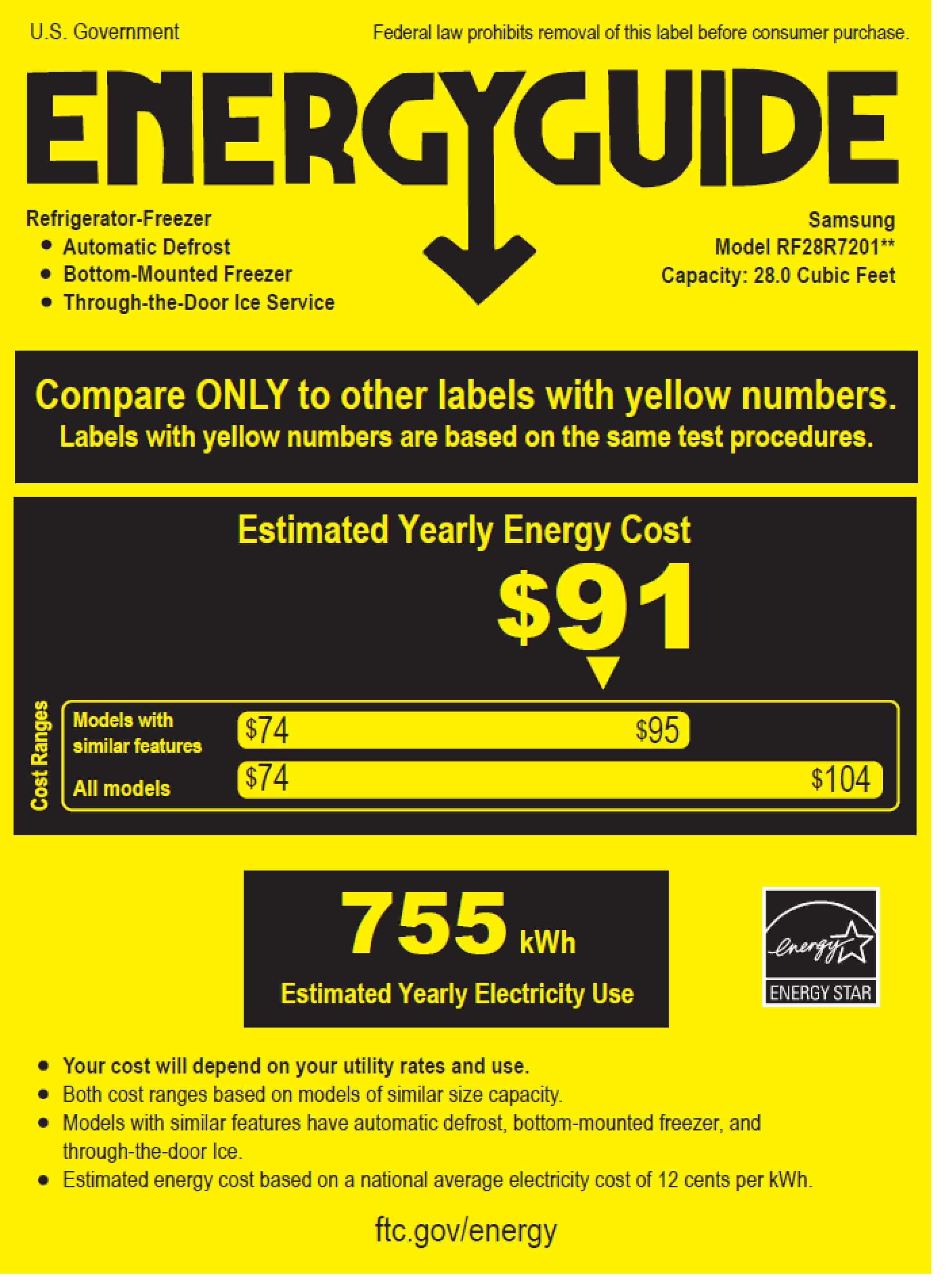 Samsung RF28R7201SG/AA energyGuideImage