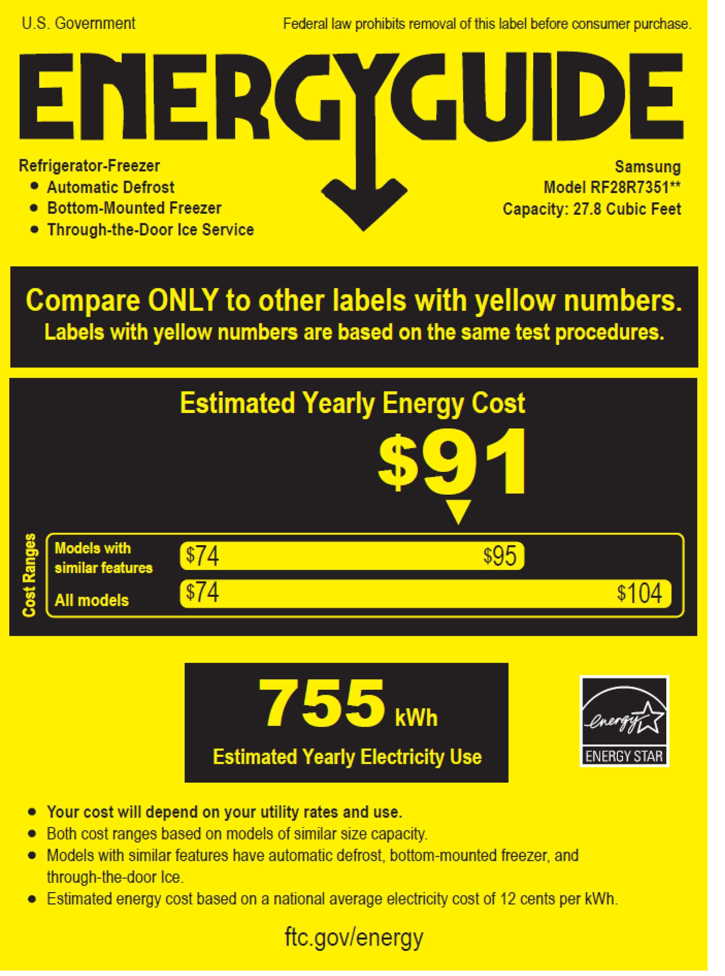 Samsung RF28R7351SR/AA energyGuideImage