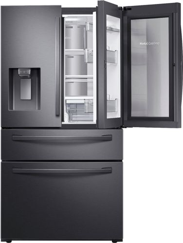 Samsung 27.8 cu. ft. Food Showcase 4-Door French Door Refrigerator in Fingerprint Resistant Black Stainless