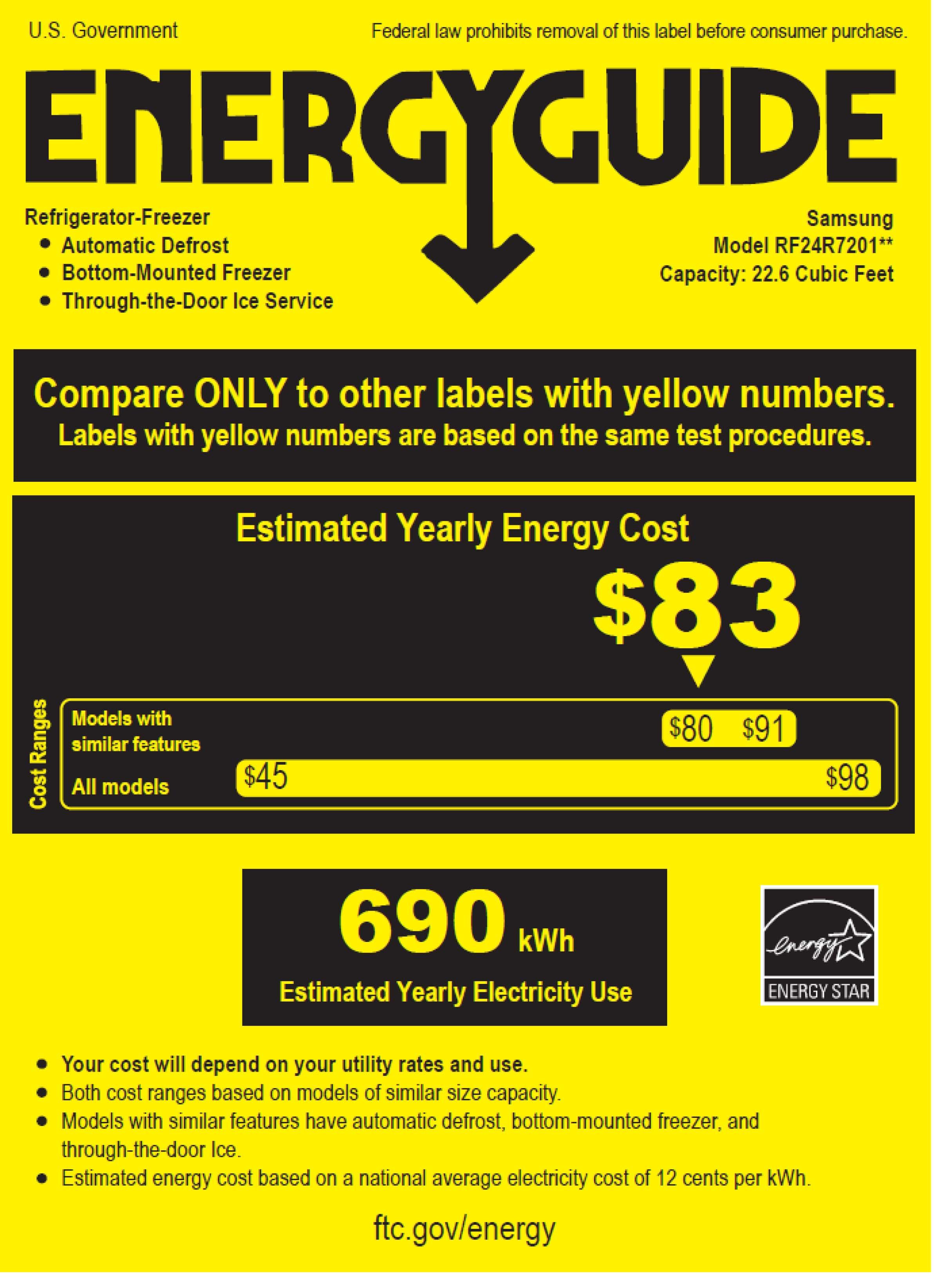 Samsung RF24R7201SR/AA energyGuideImage