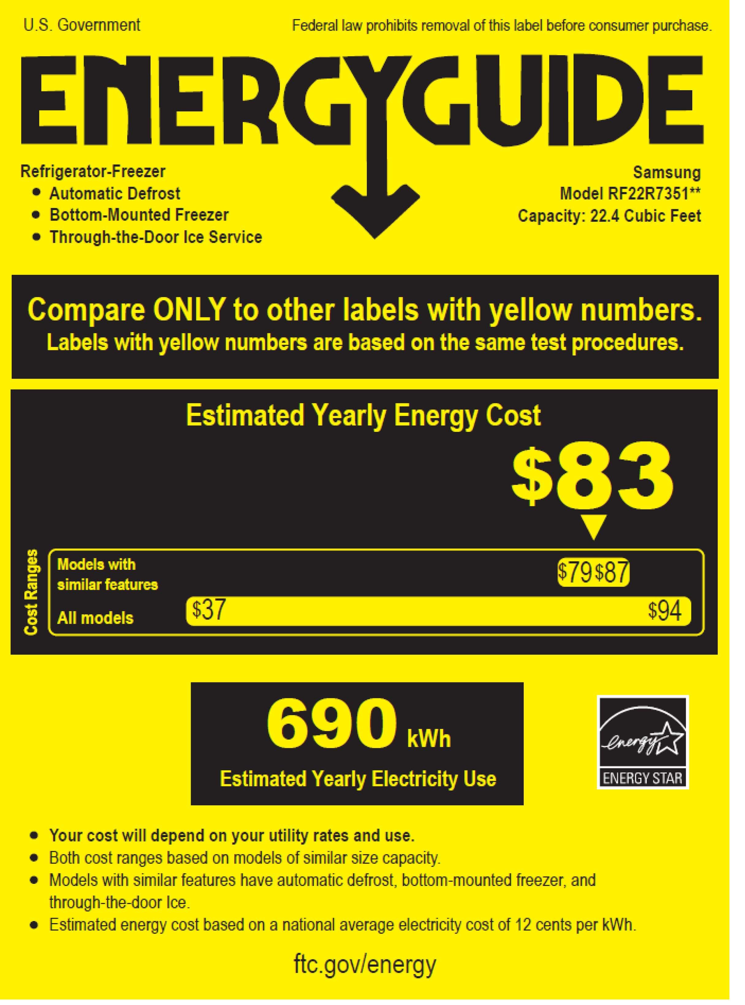 Samsung RF22R7351SR/AA energyGuideImage