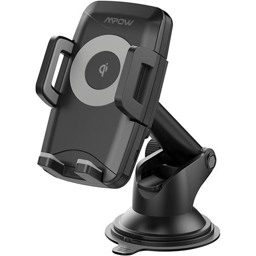 Mpow Qi Wireless Charging Car Mount for Dashboard/Windshield with M4.1-Triple Sided Grip, Dual USB Charging, Universal Phone Car Mount, iPhone, Galaxy, Android Compatible