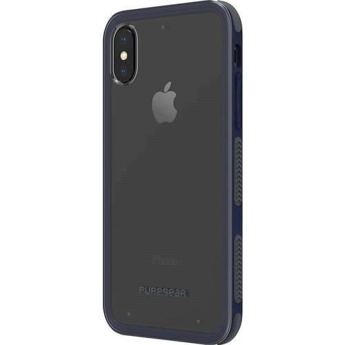 PureGear - DualTek Clear Case for Apple® iPhone® X and XS - Clear/Navy Blue PureGear DualTek Clear Case for Apple iPhone X and XS: Fits Apple iPhone X and XS; rubber and plastic materials; scratch resistant; shock-absorbing corners; play-through design