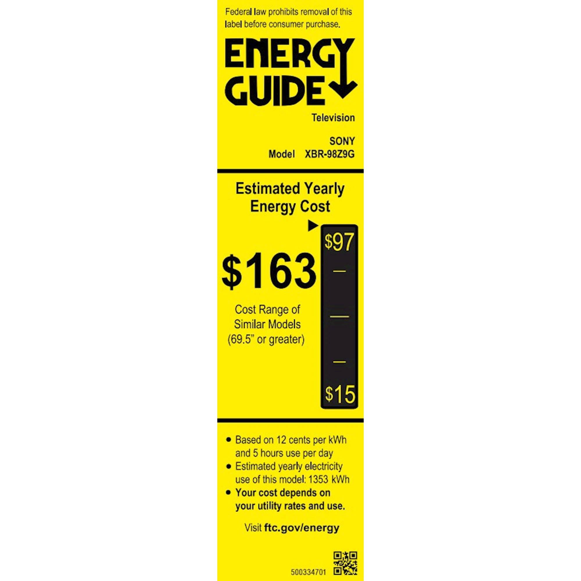Sony XBR98Z9G energyGuideImage