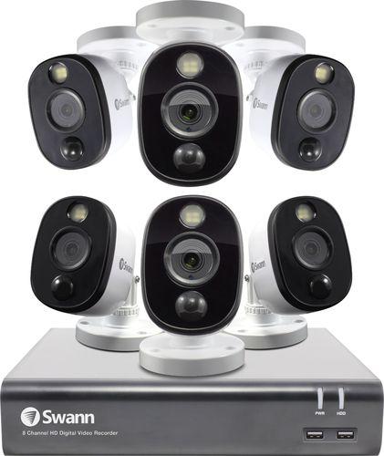 Swann - 8-Channel, 6-Camera Indoor/Outdoor Wired 1080p 1TB DVR Surveillance System - Black/Gray/White
