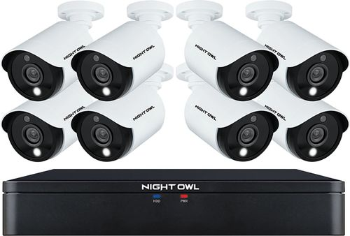 Night Owl - C20X Series 8-Channel, 8-Camera Indoor/Outdoor Wired 1080p 1TB DVR Surveillance System - White/Black
