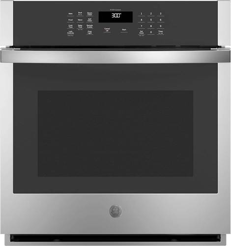 "GE Stainless Steel JKS3000SNSS 27"""" Singe Wall Oven with 4.3 cu. ft. Capacity  Self Clean with Steam Clean Option  WiFi Connectivity and Scan to Cook Technology in Stainless Steel"