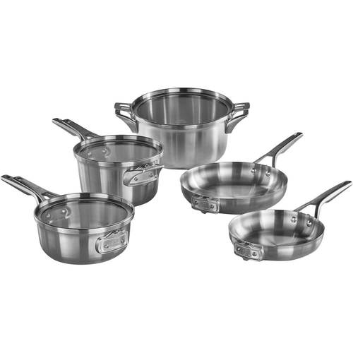 Calphalon - Premier 8-Piece Cookware Set - Stainless steel 8-piece set; heavy-gauge aluminum core; stainless steel handles; dishwasher safe; stackable design; includes 8  and 10  fry pans, 2.5-, 3.5-qt. saucepans with covers, 6-qt. stock pot with cover
