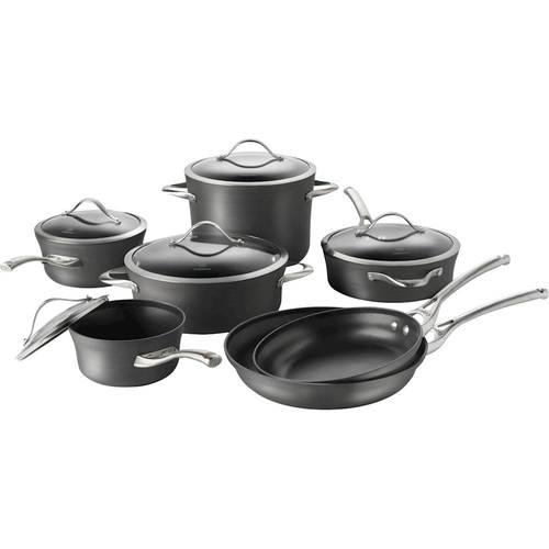 Calphalon - Contemporary 12-Piece Cookware Set - Black 12-piece set; hard-anodized aluminum construction; stainless steel handles; dishwasher-safe design; includes 10 , 12  frying pans; 3-qt. sauté, 1.5-, 2.5-qt. saucepans, 8-qt. stock pot, 5-qt. dutch oven with covers