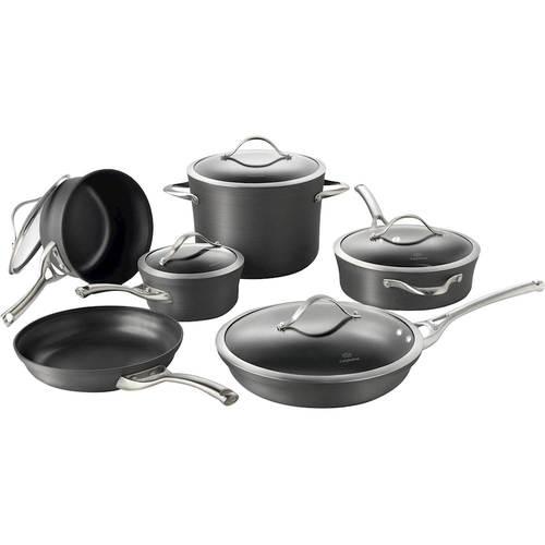 Calphalon - Contemporary 11-Piece Cookware Set - Black 11-piece set; hard-anodized aluminum construction; stainless steel handles; dishwasher-safe design; includes 10  frying pan; 12  frying pan, 3-qt. sauté, 1.5-, 2.5-qt. saucepans, 8-qt. stock pot with covers
