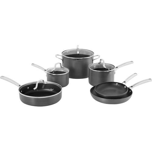 Calphalon - Classic 10-Piece Cookware Set - Black 10-piece set; hard-anodized aluminum construction; stainless steel handles; dishwasher safe; includes 8 , 10  frying pans, 3-qt. sauté pan with cover, 1.5-, 2.5-qt. saucepans with covers, 6-qt. stock pot with cover