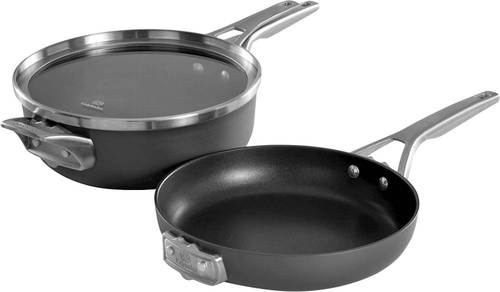 Calphalon - Premier 3-Piece Cookware Set - Black 3-piece set; hard-anodized aluminum; stainless steel handles; PTFE nonstick surface; tempered glass cover with handle; oven and dishwasher safe; stackable; includes 4-qt. chef's pan with cover and 10  fry pan