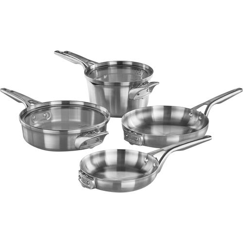 Calphalon - Premier 6-Piece Cookware Set - Stainless Steel 6-piece set; heavy-gauge aluminum core; stainless steel handles; dishwasher safe; stackable design; includes 8  and 10  fry pans, 3-qt. sauté and 3.5-qt. saucepans with covers