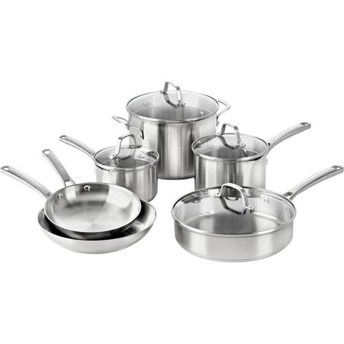 Calphalon - Classic 10-Piece Cookware Set - Stainless Steel 10-piece set; impact-bonded aluminum base; stainless steel handles; dishwasher-safe; includes 8  and 10  frying pans, 1.5- and 2.5-quart sauce pans with covers, 3-quart saute pan, 6-quart stock pot with cover