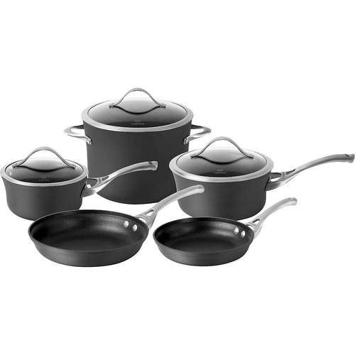 Calphalon - Contemporary 8-Piece Cookware Set - Black 8-piece set; hard-anodized aluminum construction; stainless steel handles; dishwasher-safe design; includes 8 , 10  frying pans, 1.5-, 2.5-qt. saucepans with covers, 8-qt. stock pot with cover