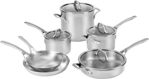 Calphalon - Signature 10-Piece Cookware Set - Stainless Steel 10-piece cookware set; 3-layer aluminum core and 2-layer stainless steel; brushed stainless steel long handles; oven-safe tempered glass covers; dishwasher safe; includes 8  and 10  omelet pans; 2-qt. and 3-qt. saucepans with covers, 2-qt. sauté pan with cover, and 8-qt. stock pot with cover
