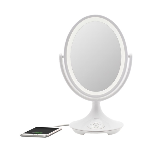 iHome Magnify Vanity Mirror iCVBT6 6u0022 Double-sided Vanity Mirror, Makeup Mirror LED with Bluetooth Audio / Speakerphone and USB Charging
