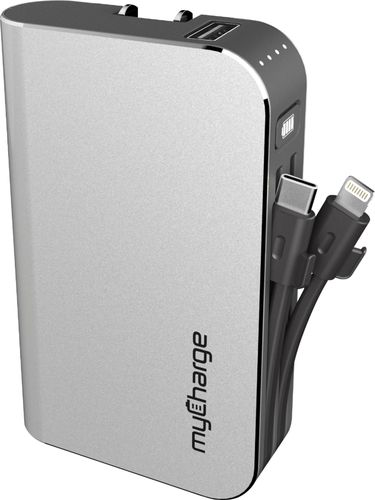 myCharge Hub 6700mAh/2.4A Output Power Bank with Integrated Charging Cables - Silver