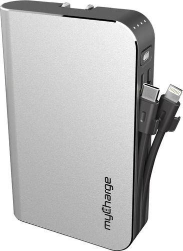 myCharge Hub Max 10050mAh/2.4A Output Power Bank with Integrated Charging Cables - Silver