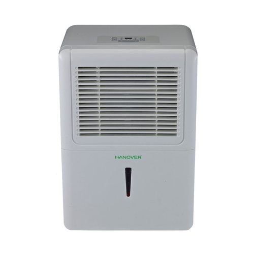 Hanover - 70-Pint Portable Dehumidifier - White Designed for rooms up to 4499 sq.ft.Includes drain hose connection6.9 ampsBucket full indicator light; auto shut off; frost protection