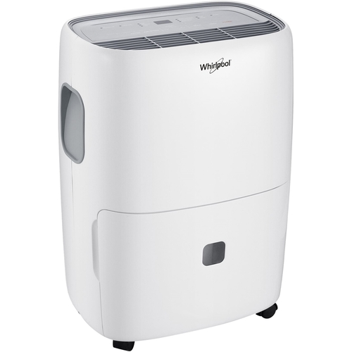 Whirlpool - 30-Pint Portable Dehumidifier - White Designed for rooms up to 1500 sq.ft.Includes drain hose connectionEnergy Star Certified2.6 ampsBucket full indicator light; auto shut-off; frost protectionCarry handle included; adjustable humidistat