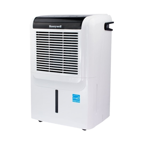 Honeywell - 70-Pint Portable Dehumidifier - Glossy White Includes integrated pump and drain hose connectionEnergy Star Certified7.5 ampsBucket full indicator light; auto shut off; anti-spill systemAdjustable humidistat