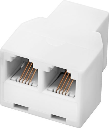 Insignia™ - 2-Line Phone Cord Splitter - White Compatible with most phones, modems, and fax machines; RJ11 connector; gold-plated contacts