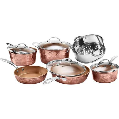 Gotham Steel 10 Piece Hammered Cookware Set, Ultra Non-Stick, Dishwasher Safe, Oven Safe