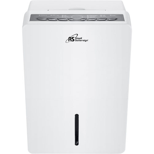 Royal Sovereign - 70-Pint Portable Dehumidifier with Pump - White Includes integrated pump and drain hose connectionEnergy Star CertifiedBucket full indicator light; auto shut off; container full audible alarm; frost protectionAdjustable humidistat