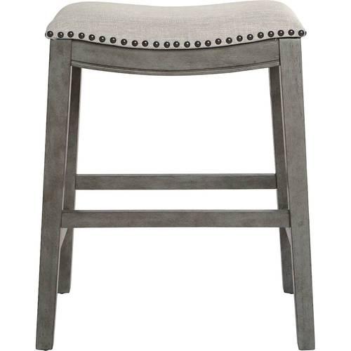 OSP Designs - Contemporary Wood Saddle Stool (Set of 2) - Gray