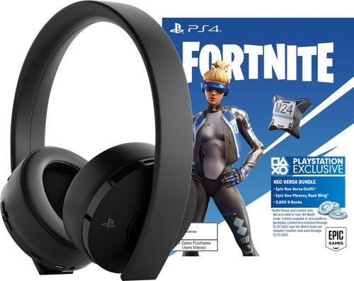 PlayStation Gold Wireless Gaming Headset: Fortnite Bundle - Black